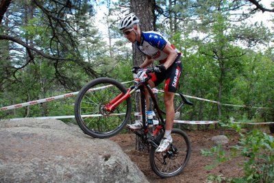 Max Plaxton Hops Up a Rock at Pro XCT #4 in Colorado Springs