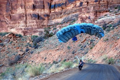 Base Jumping Along Kane Creek Road Near Moab, UT