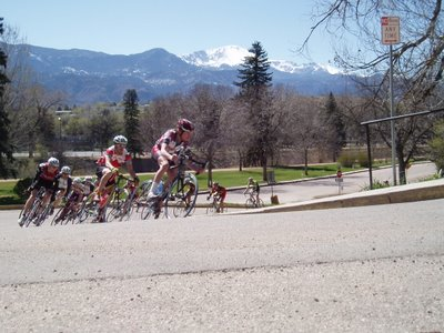 Colorado College Criterium with Pikes Peak in Background