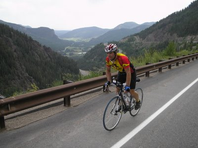Climbing Wolf Creek Pass, Race Across America 2006