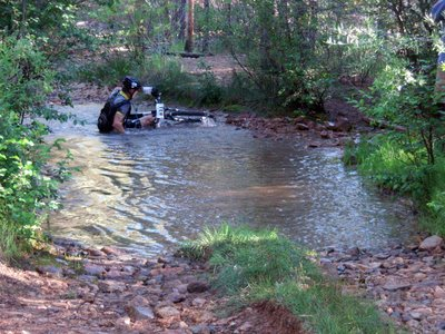 Mark Smith Falls Into the Creek at the Bottom of the Powerline