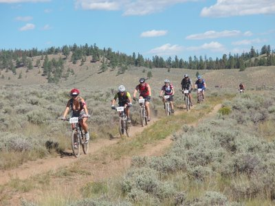Racers Just about to Start the Columbine Climb at the 2007 Leadville 100 MTB