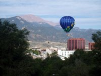 Hot Air Balloon Over Downtown Colorado Springs