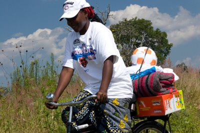 Caregiver Using a Bike Provided by World Bicycle Relief
