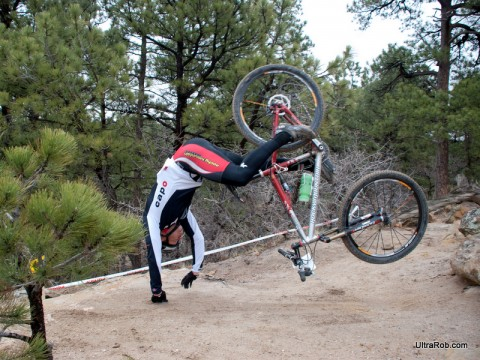Endo in Palmer Park during Sand Creek Mountain Bike Race