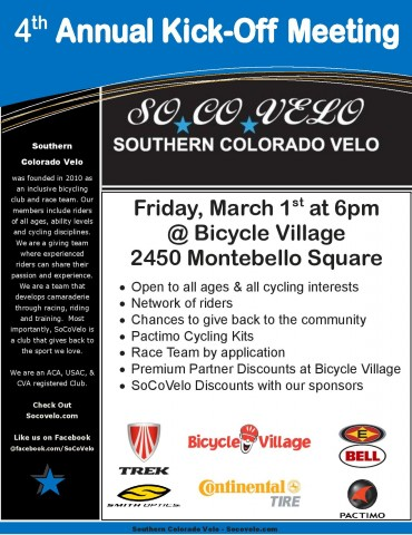 Southern Colorado Velo 2013 Annual Meeting Flyer