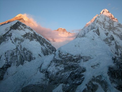 Everest, Lhotse and Nipse viewed from the Pumori base camp