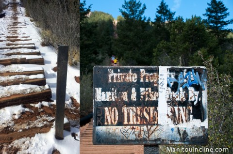 Manitou Incline No Trespassing Sign Removed